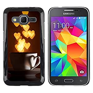 Exotic-Star ( I Love Hearts Cup Gold Lights ) Fundas Cover Cubre Hard Case Cover para Samsung Galaxy Core Prime / SM-G360