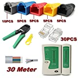 RJ45 Cat5e Cat6 Network Ethernet LAN Kit Cable Tester Crimper Crimping Tool Set