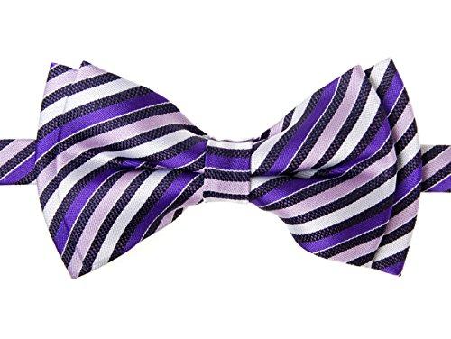 Retreez Retro Multi Tone Stripe Woven Microfiber Pre-tied Boy's Bow Tie - Purple - 4 - 7 years