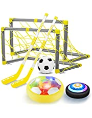 AoHu Hover Hockey Soccer 2 in 1 Set Boys Toys, Rechargeable Indoor & Outdoor Hovering Hockey Game with 3 Goals and LED ,Air Power Hockey and Soccer Ball Sports Gifts for 3 -12 Year Old Kids