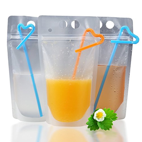 50 Pcs Drink Pouches Bags with DOUBLE Zipper for Better Close - Upgraded Stand up Drink Container For Smoothie,Cold & Hot Drinks - Non-Toxic,BPA Free – 50 Straws & 1 Funnel Included