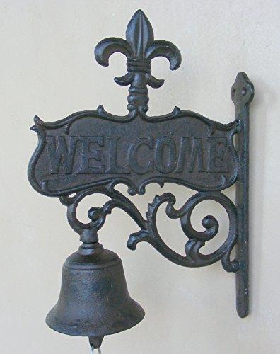Bell Welcome Plaque (Cast Iron Hanging Fleur De Lis Welcome Bell)