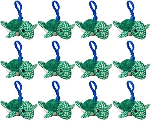 Back Animal - Wildlife Tree Sea Turtle Plush 3.5 Inch Stuffed Animal Backpack Clip Toy Keychain Wildlife Hanger Party Favor Pack of 12