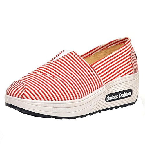 Todaies Women Round Head Breathable Leisure Canvas Sports Shoes Shake Fashion Shoes Red (The Coolest Shoes In The World For Sale)
