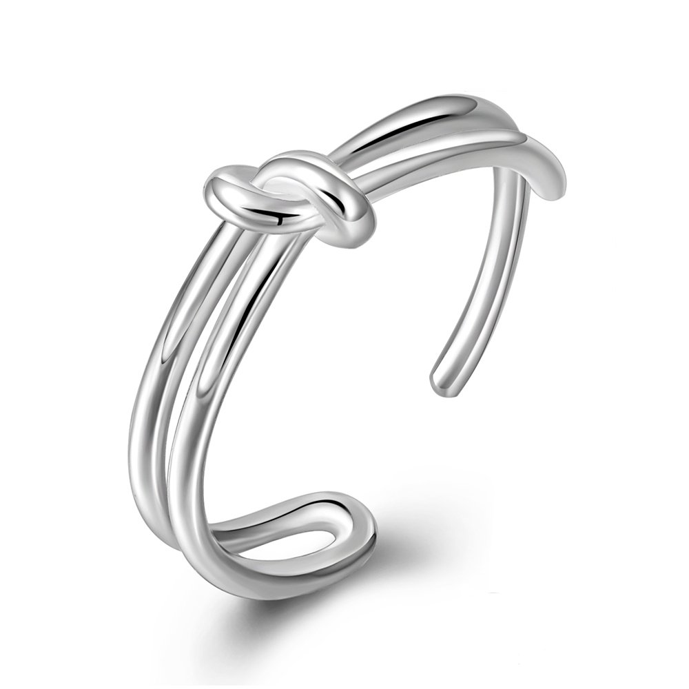 Long Way Ring, 925 Sterling Silver Love Knot Adjustable Open Rings Fine Jewelry Women, Best Gift Wife Mother Girlfriend at Birthday,Christmas