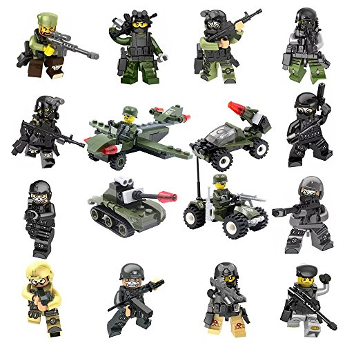 YYKMEI Minifigures Set of 14 Army Minifigures + 4 Military Vehicles Lego-Compatible SWAT TEAM Policeman Soldier Weapons - Military Set