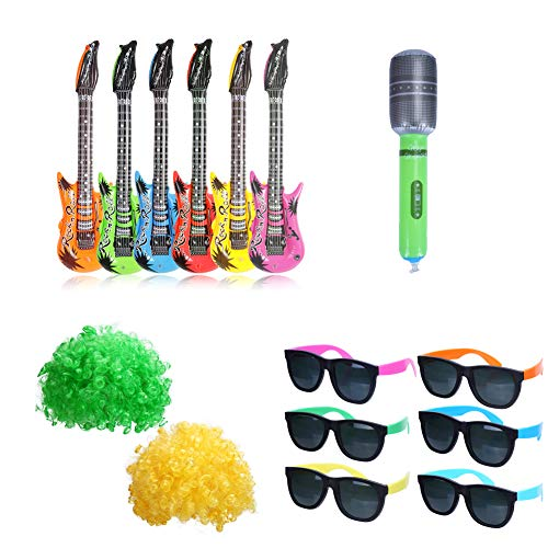 CCINEE 15pcs Rock Star Party Favor Kits Inflatable Guitars & Microphone Plastic Sunglasses and Wigs for Kids Christmas New Year Eve Party Favors Supply and Decoration]()