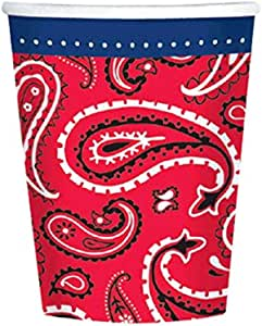 Western Hot and Cold Drinks Paper Cups Disposable Party Drinkware, 9 oz., Pack of 8.