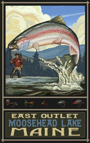 Northwest Art Mall Rainbow Trout Fisherman East Outlet Moosehead Lake Maine print Wall Art by Paul A Lanquist, 11 by - Outlet Maine Mall