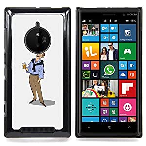 - Beer Man Art Drawing Holiday Relaxed - - Snap-On Rugged Hard Cover Case Funny HouseFOR Nokia Lumia 830