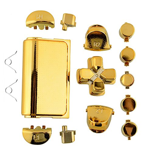 Chrome-Plating-Replacement-Repair-Buttons2x-Springs-Set-for-PS4-Controller-DualShock-4-Color-Gold