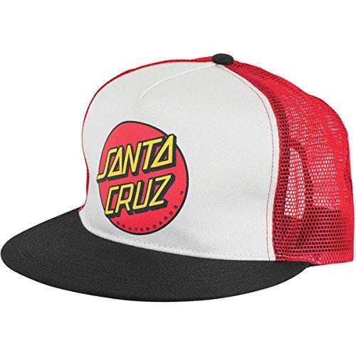 Santa Cruz Mens Classic Dot Trucker Mesh Adjustable Hat One Size Black/White/Red