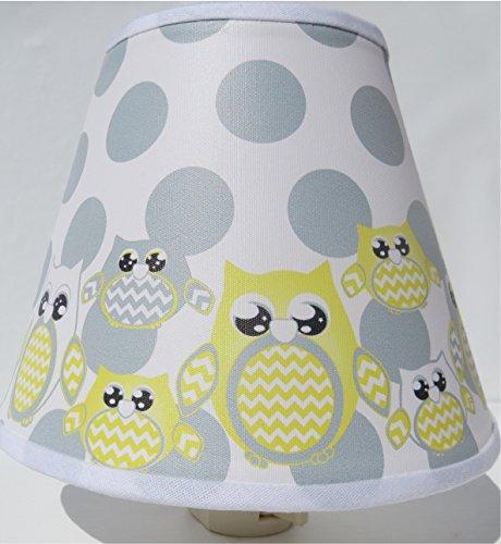 Yellow Owl Night Lights with Dots / Owl Nursery Decor