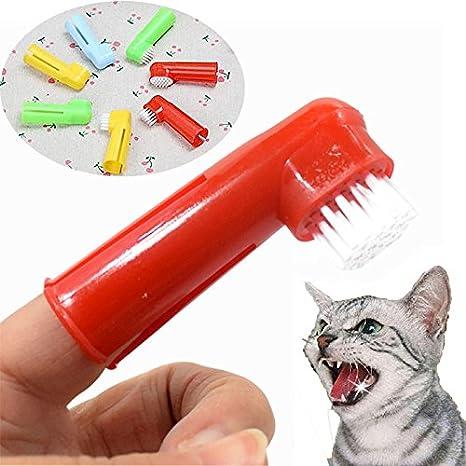 Qiuxiaoaa Mascotas Perros Gatos Oral Dental Limpiar los Dientes Higiene Cepillo Suave Dedo Cepillo de Dientes Además de Mal Aliento Suministros para ...