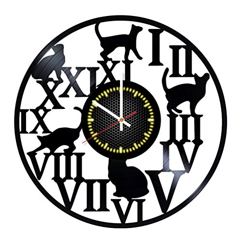 charming black cat wall clock - cute black cat wall decor