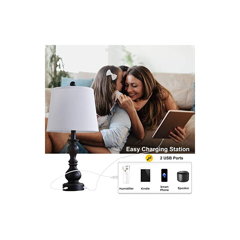 Resin Table Lamp Sets of 2 for Bedroom Living Room Plug in Bedside Nightstand Light Lamps with 2 USB Ports White Fabric…