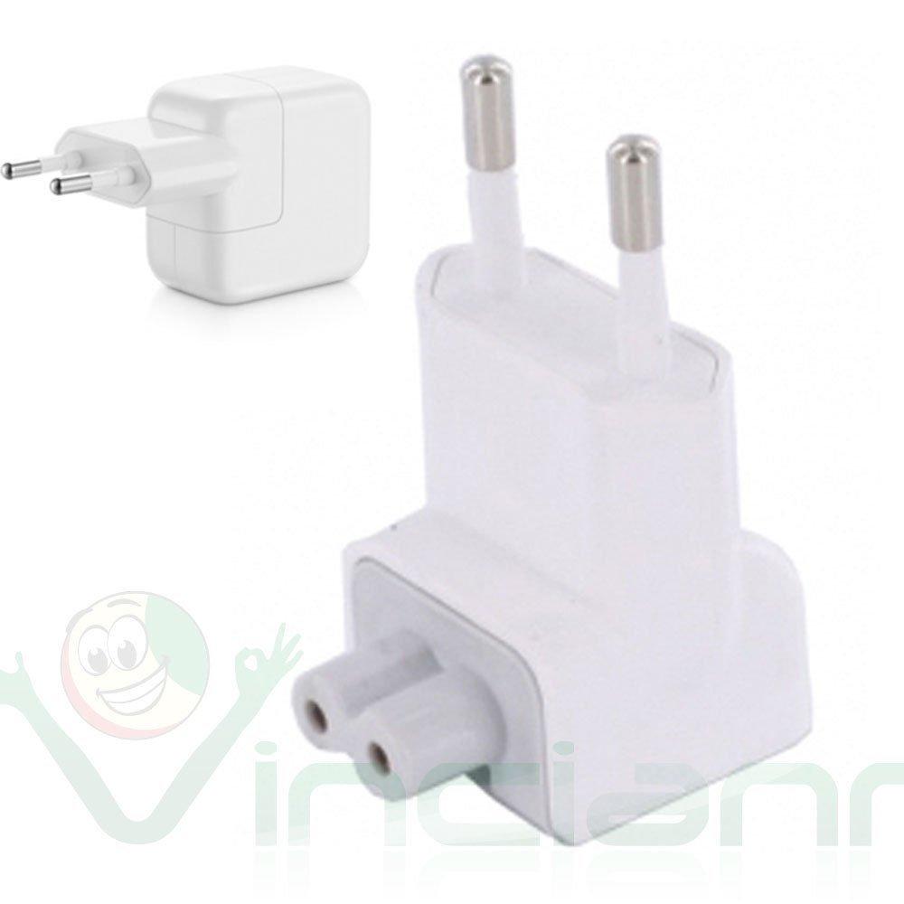 Adattatore presa europea 2 poli spina EU per alimentatore Apple USB 10W 12W mac Vinciann