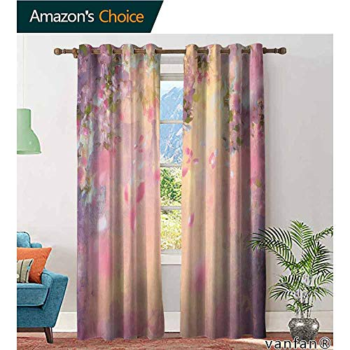 LQQBSTORAGE House Decor,Blackout Curtain Panels Window Draperies,Cherry Tree Blossom Cheerful Childish Fun Cartoon Art Garden in Sakura Season,Curtains Girls Room,Pink Green - Green Gingham Toile Pink