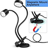 LED Task Light SunKoda Magnetic Work Light with Clip On Flexible Task Lighting Dual Gooseneck Lights Adjustable Table Desk Lamp for CNC Band Saw, Sewing Machine, Craft, Book Reading Light(Cool White)