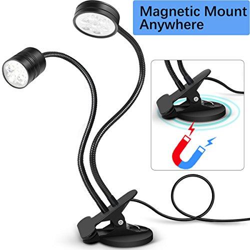da Magnetic Work Light with Clip On Flexible Task Lighting Dual Gooseneck Lights Adjustable Table Desk Lamp for CNC Band Saw, Sewing Machine, Craft, Book Reading Light(Cool White) (Gooseneck Desk Task Light)