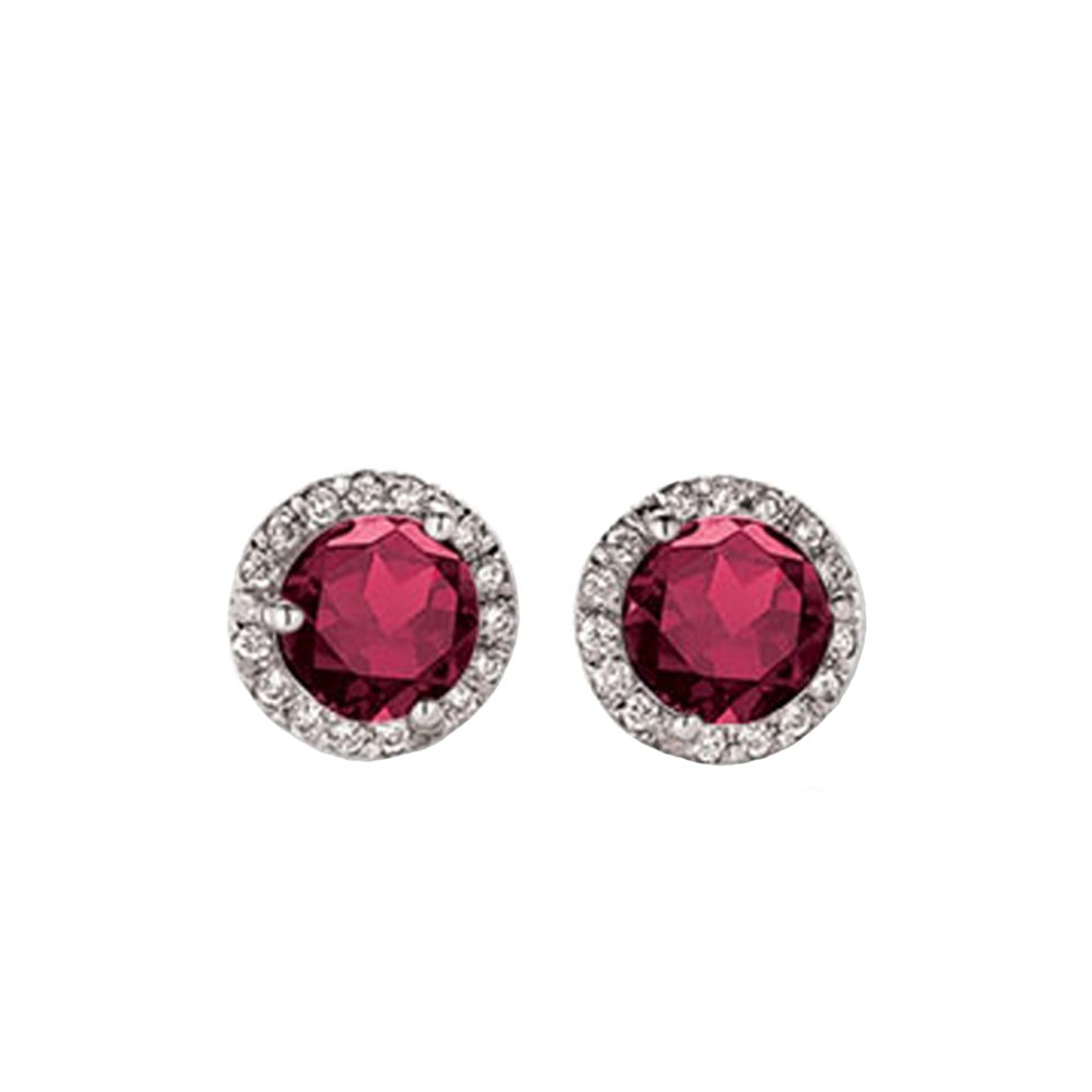 0.50 Carat (ctw) 14K White Gold Round Ruby & White Diamond Ladies Halo Style Stud Earrings 1/2 CT