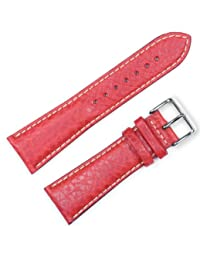 Sport Leather Watchband - Red 24MM