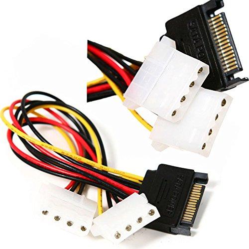 Wized - 2 x 15 CM SATA 15 Pin Power to Dual 4 Pin Molex Power SplinTeach