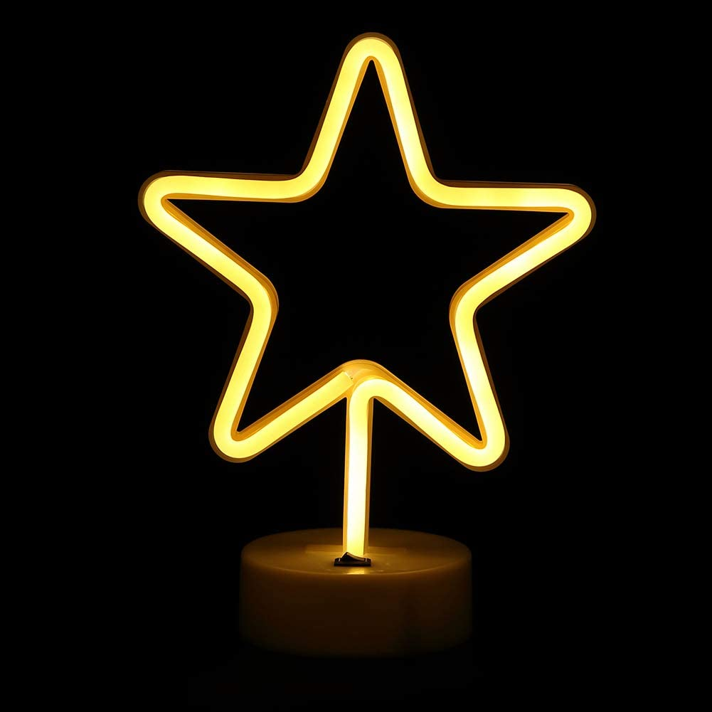 BHCLIGHT Star Neon Signs LED Neon Light Sign with Holder Base for Table Light Home Party Birthday Bedroom Bedside Table Decoration Children Kids Gifts ...