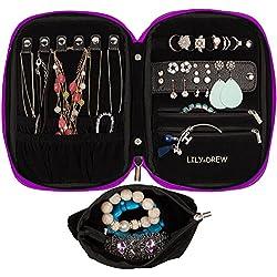 Lily & Drew Travel Jewelry Storage Carrying Case Jewelry Organizer with Removable Pouch (Dark Purple)