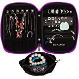 Lily & Drew Travel Jewelry Storage Carrying Case Jewelry Organizer with Removable Pouch (V1 Dark Purple)