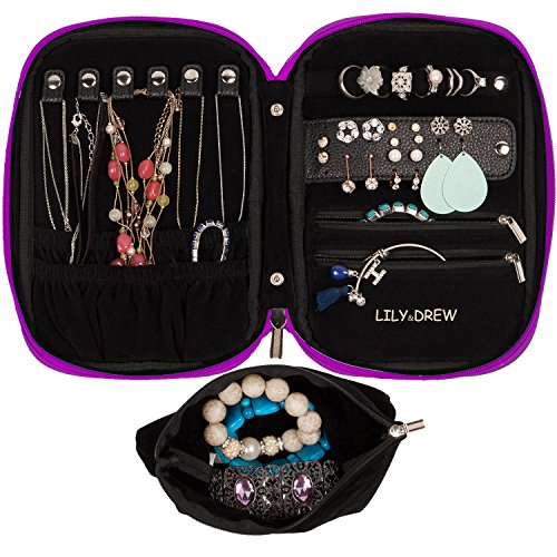 Lily & Drew Travel Jewelry Storage Carrying Case Jewelry Organizer with Removable Pouch (V1 Dark - Purple Lily Dark