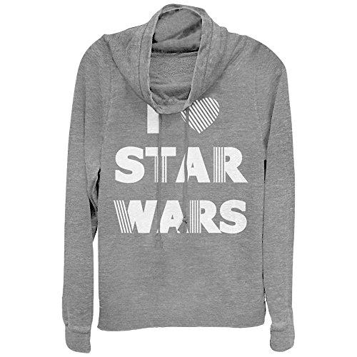 Fifth Sun Star Wars Juniors' Heart Stripe Gray Heather Cowl Neck Sweatshirt