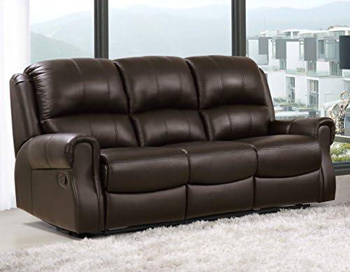 3 plazas de piel EDWARD sofá reclinable: Amazon.es: Hogar