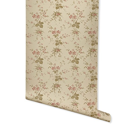 Beige Floral Wallpaper - Press Floral, Beige Wallpaper for Walls - Double Roll - by Romosa Wallcoverings BB7339