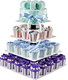 Donut Stand, 4 Tier Square White Cupcake Stand,Tiered Serving Stand, Donut Rack,Cupcake Tree Display,Decorative Happy Birthday Cake Stands,Dessert Stands Princess Cupcake Towers - Acrylic Riser