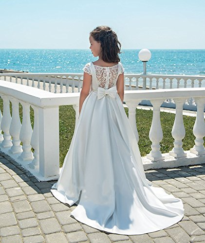 Banfvting Long Flower Girl Dresses With Bow Sashes Lace by Banfvting (Image #2)