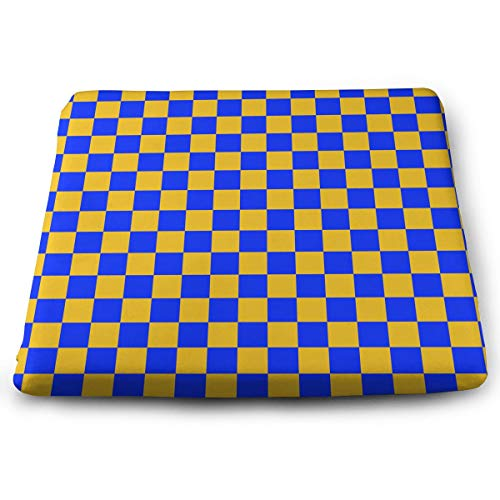 Eplus Blue Yellow Interphase Lattice Memory Foam Seat Cushion Chair Pad Removable Non-Slip Breathable Cover, 13.7