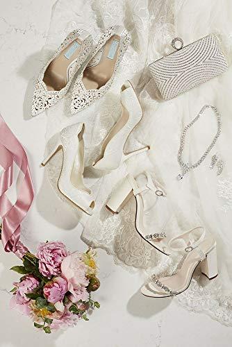 Style Pumps Ivory David's Toe Pointed Laser cut Bridal Embellished Sbemily Crystal vw08qaf