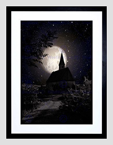 (SURREALISM Landscape Moon Church Spooky Halloween Framed Art Print)