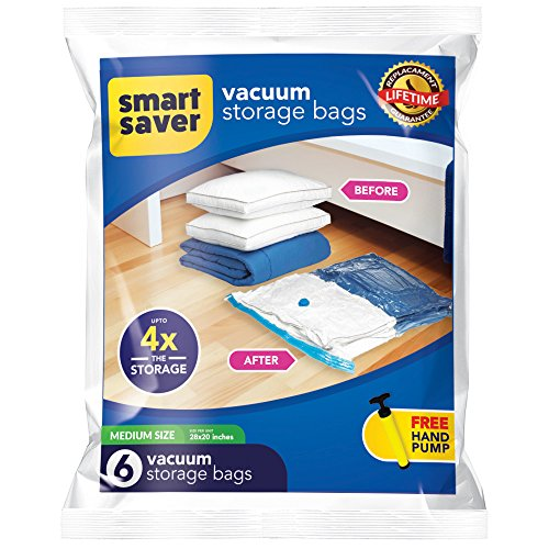 Bigtime Ent SmartSavers Ziplock Vacuum Storage Bags, Reusable Space Saver Bags for Clothes, Comforters, Blankets, Pillows, Bedding Packing (6 Medium (28 X 20) INCH) (Sanitary Pants Replacement Pads)