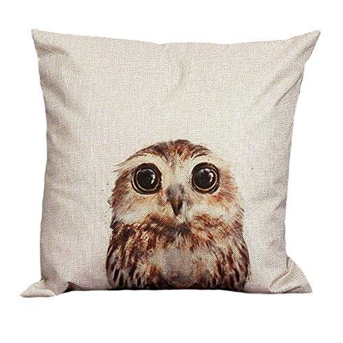 Pillow Cases,IEason Clearance Sale! Vintage Owl Cotton Linen Pillow Case Sofa Waist Throw Cushion Cover Home Decor (White)