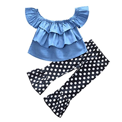 Lisin Toddler Kids Baby Girls Outfits Off Shoulder Denim Tops+Flares Pants Clothes Set (Size:24Months, Blue) (Dresser Suitcase)