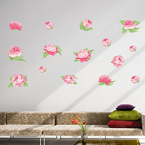 Easma Pretty Pink Peonies Watercolor Decal Self-adhesive Garden Decorative Peel Stick Wall Art Sticker Decals-15pcs (Peony Water Garden)