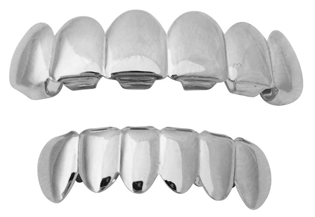 Halloween Suicide Squad Joker Jared Leto Silver Mouth Teeth Grillz Set w At-Home Mold Kit Big Dawgs Grillz 2159-J