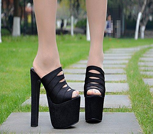 en de XiaoGao tacones super el la 20 32 negro escenario 888 Shop centimetros sandalias grueso noche fondo y rrEyzfwq