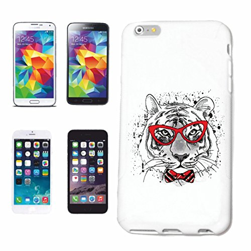 """cas de téléphone iPhone 6+ Plus """"MERRY TIGER ET FLY LUNETTES AVEC TIGER WILD ANIMAL BIG CAT LEOPARD BIG CAT"""" Hard Case Cover Téléphone Covers Smart Cover pour Apple iPhone en blanc"""