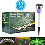 Solar Garden Lights, BASEIN Solar Lights Outdoor Pathway - Stainless Steel Landscape LED Lights for Patio, Lawn, Yard, Walkway (10 Pack)