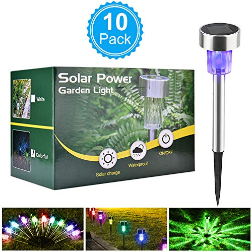 BASEIN Solar Garden Lights, Solar Lights Outdoor Pathway - Stainless Steel Landscape LED Lights for Patio, Lawn, Yard, Walkway (10 (Stainless Steel Solar Garden)