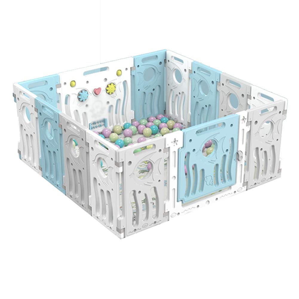 6 Tailles ZHANWEI-Parc b/éb/é Accueil Cour De R/écr/éation Plastique Pliable Parc De Jeux pour B/éb/é avec Balles Et Tapis Couleur : Bleu, Taille : 12 pcs - 141x106x64cm