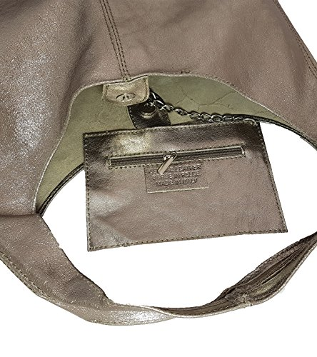 Women's FreyFashion in Shoulder Made FreyFashion Made Metallic Messing Italy Bag UXvXrS